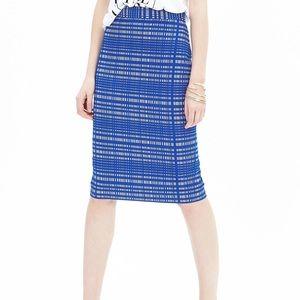 Banana Republic blue white jacquard pencil skirt